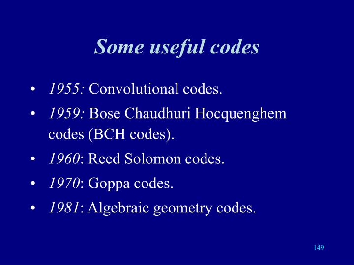 Some useful codes