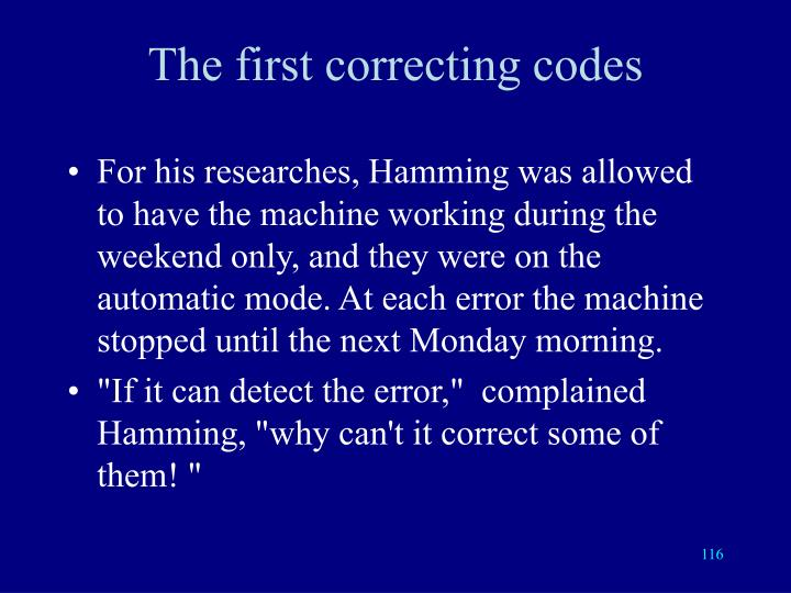 The first correcting codes
