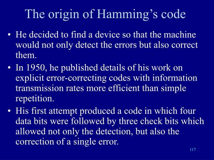 The origin of Hamming's code