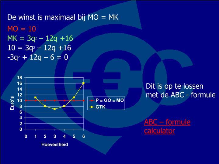 De winst is maximaal bij MO = MK