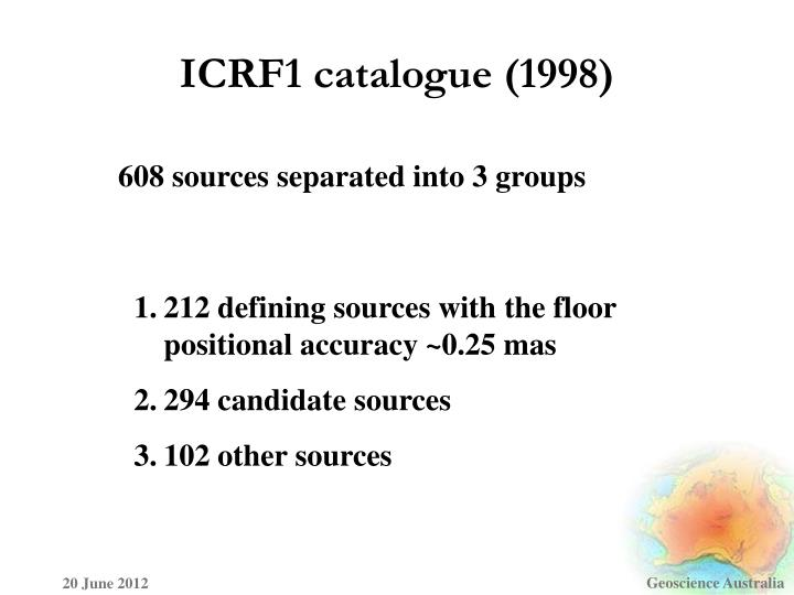 ICRF1 catalogue (1998)