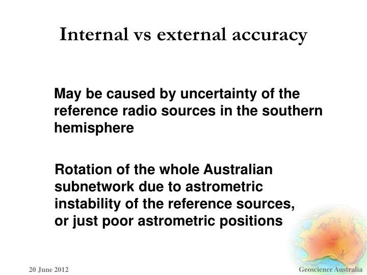 Internal vs external accuracy