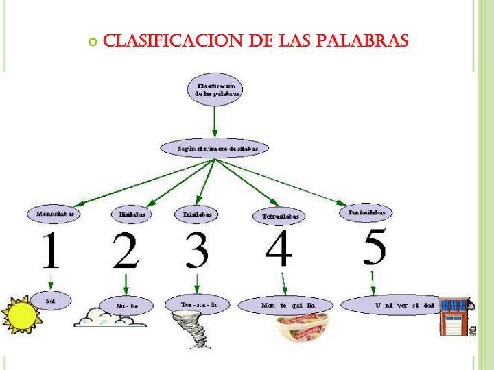 CLASIFICACION DE LAS PALABRAS