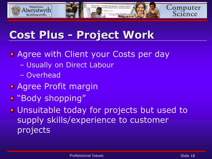 Cost Plus - Project Work
