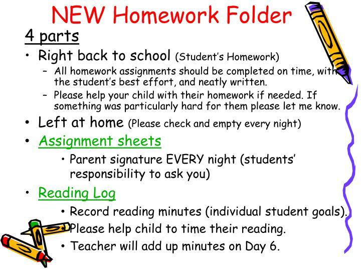 NEW Homework Folder