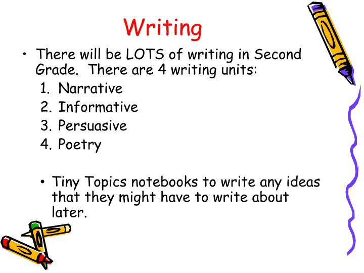 There will be LOTS of writing in Second Grade.  There are 4 writing units: