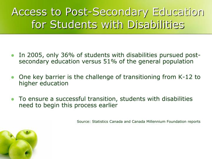 Access to Post-Secondary Education for Students with Disabilities