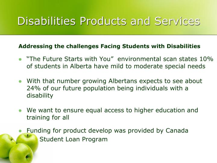 Disabilities Products and Services