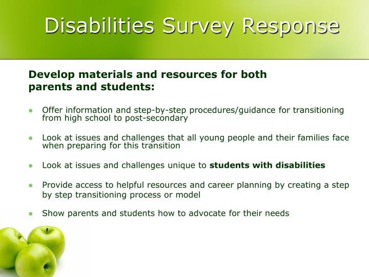 Disabilities Survey Response