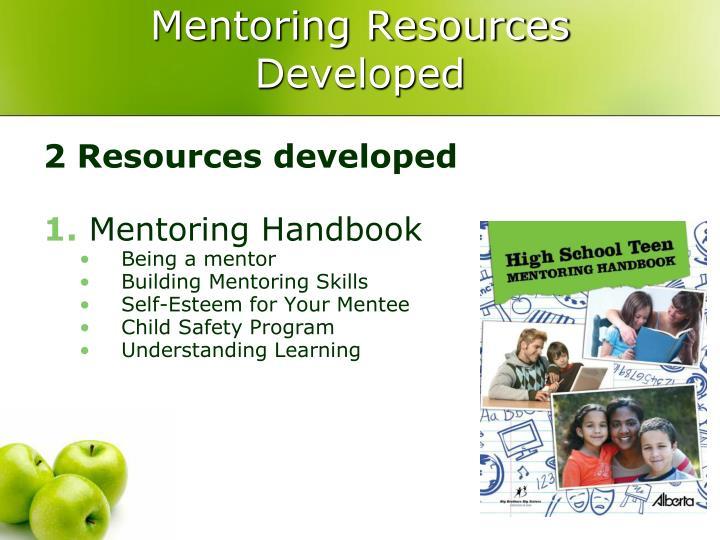 Mentoring Resources Developed