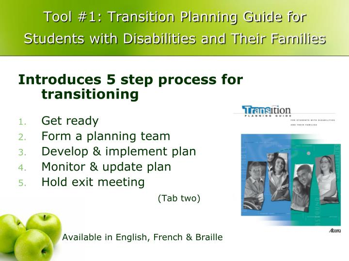 Tool #1: Transition Planning Guide for Students with Disabilities and Their Families