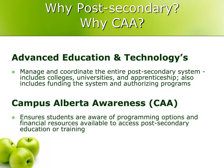 Why post secondary why caa