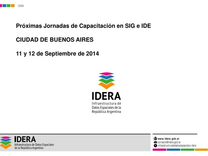 Próximas Jornadas de Capacitación en SIG e IDE