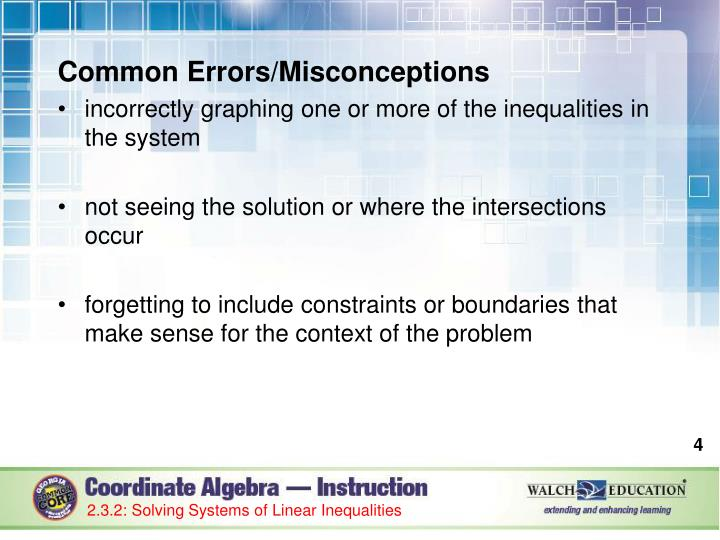 Common Errors/Misconceptions