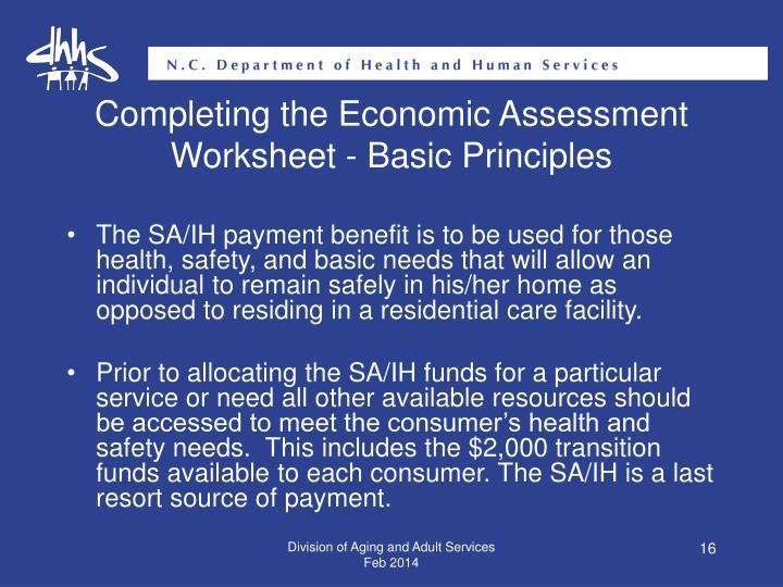 Completing the Economic Assessment Worksheet - Basic Principles