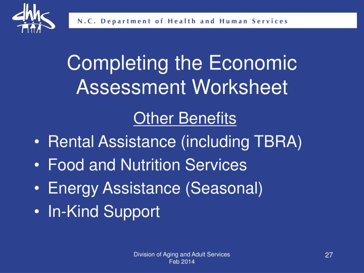 Completing the Economic Assessment Worksheet