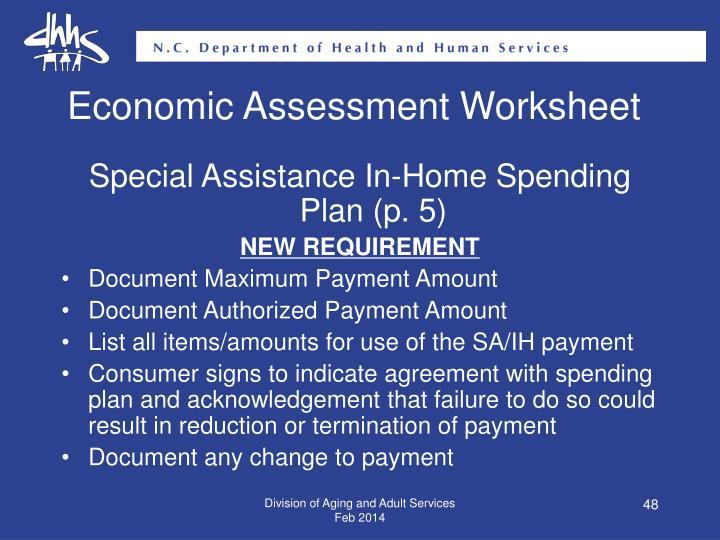 Economic Assessment Worksheet
