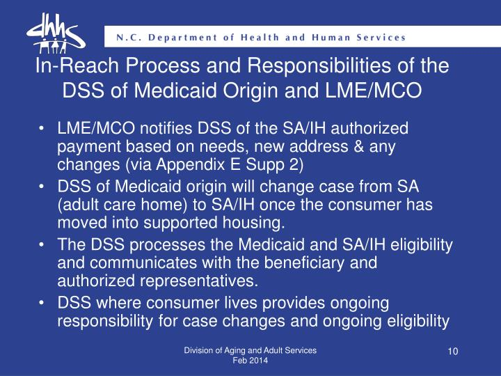 In-Reach Process and Responsibilities of the DSS of Medicaid Origin and LME/MCO