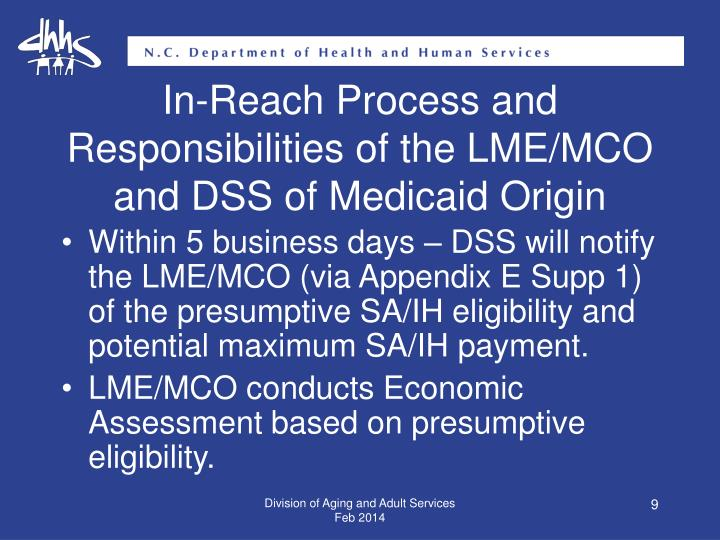 In-Reach Process and Responsibilities of the LME/MCO and DSS of Medicaid Origin