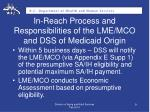 in reach process and responsibilities of the lme mco and dss of medicaid origin