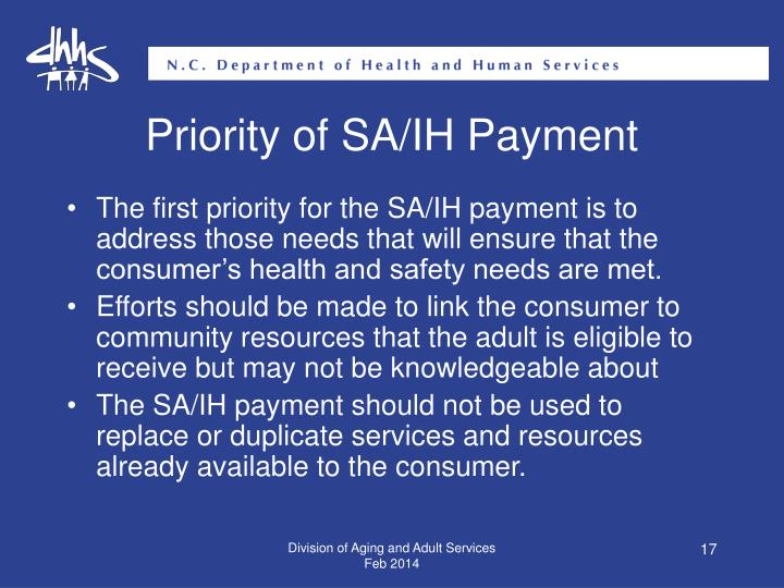 Priority of SA/IH Payment