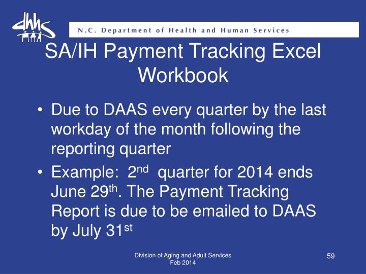 SA/IH Payment Tracking Excel Workbook