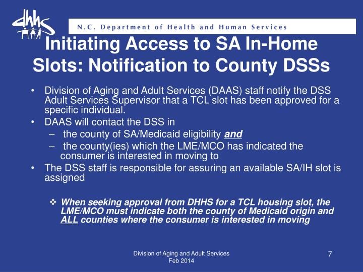 Initiating Access to SA In-Home Slots: Notification to County DSSs