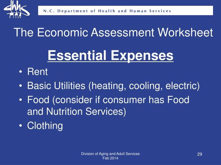 The Economic Assessment Worksheet