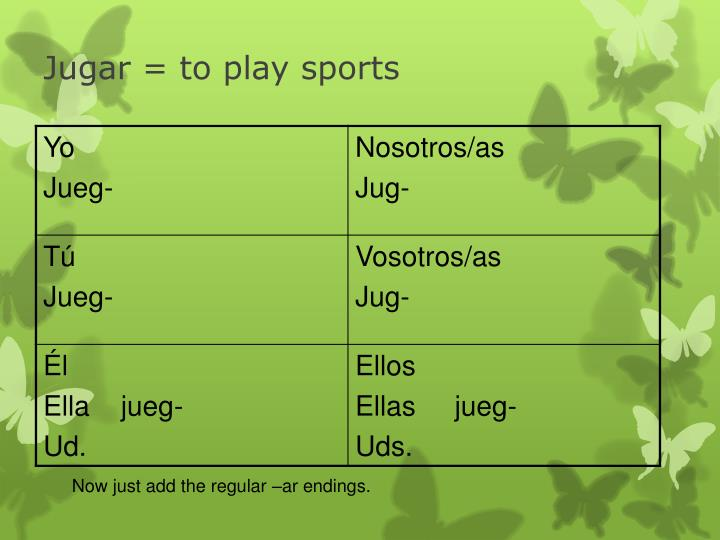 Jugar = to play sports