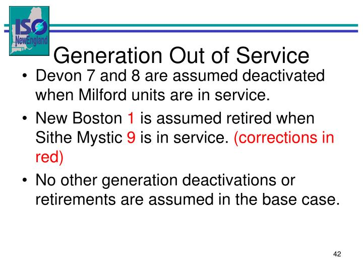 Generation Out of Service