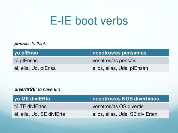 E-IE boot verbs
