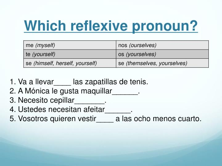 Which reflexive pronoun?