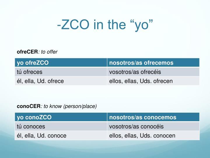 """-ZCO in the """"yo"""""""