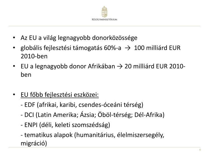 Az EU a világ legnagyobb donorközössége
