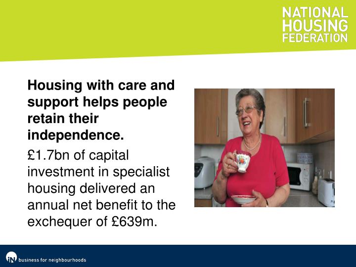 Housing with care and support helps people retain their independence.
