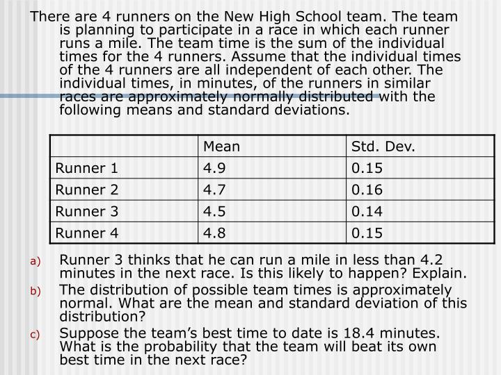 There are 4 runners on the New High School team. The team is planning to participate in a race in wh...