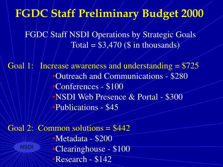 FGDC Staff Preliminary Budget 2000