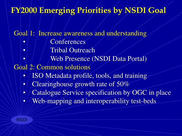 FY2000 Emerging Priorities by NSDI Goal