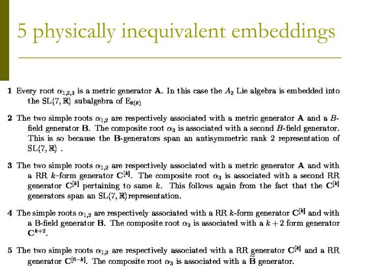 5 physically inequivalent embeddings