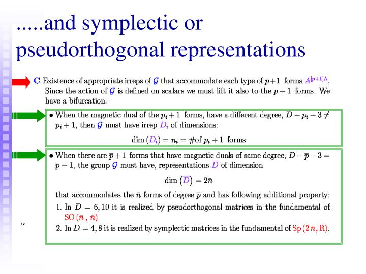 .....and symplectic or pseudorthogonal representations