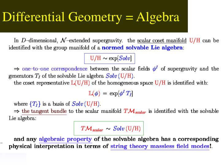 Differential Geometry = Algebra