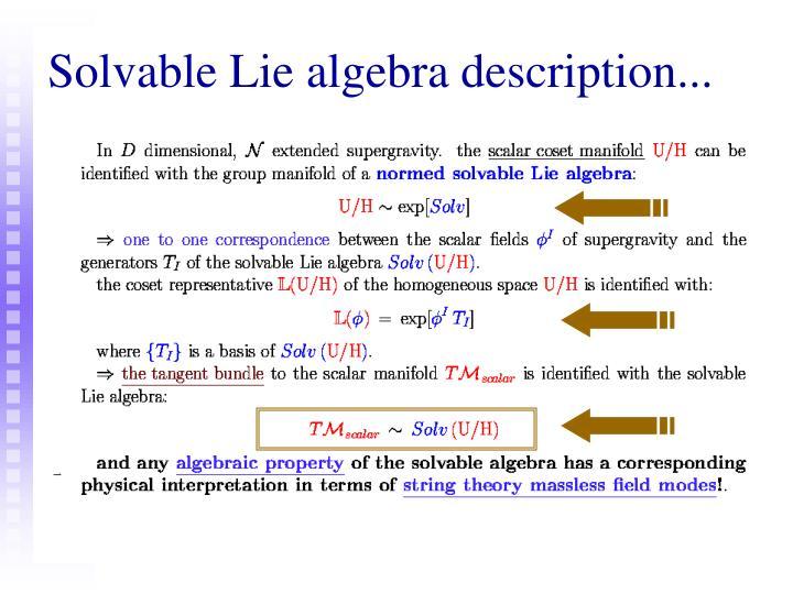 Solvable Lie algebra description...
