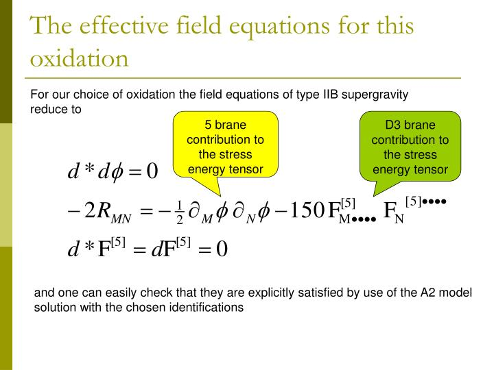 The effective field equations for this oxidation