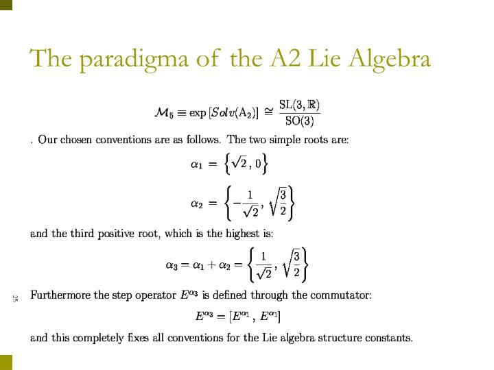 The paradigma of the A2 Lie Algebra