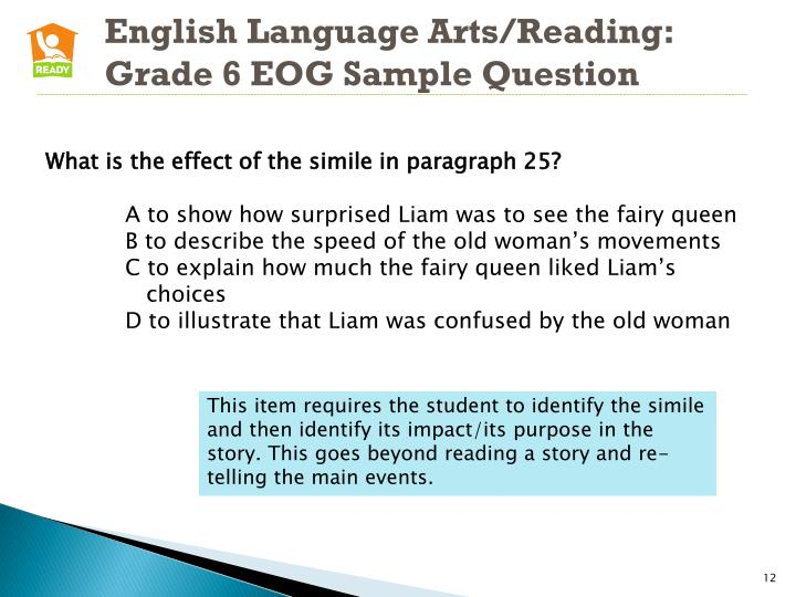 English Language Arts/Reading: Grade 6 EOG Sample Question