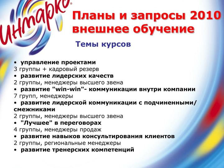 Планы и запросы 2010