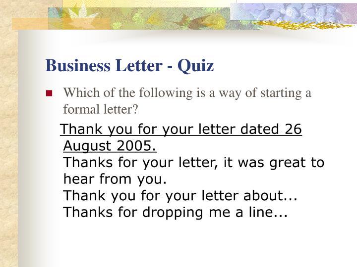 Business Letter - Quiz