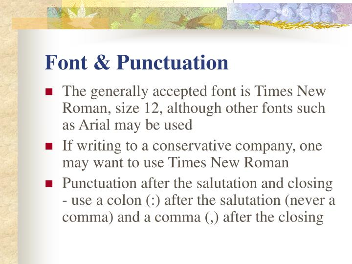 Font & Punctuation