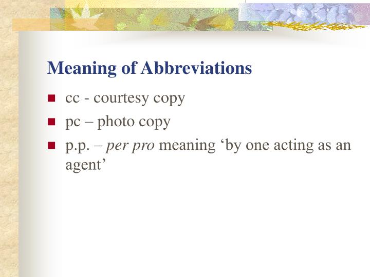 Meaning of Abbreviations
