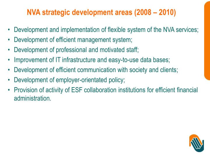 NVA strategic development areas (2008 – 2010)
